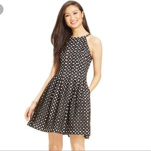 Vince Camuto Black/White Eyelet Fit & Flare Dress